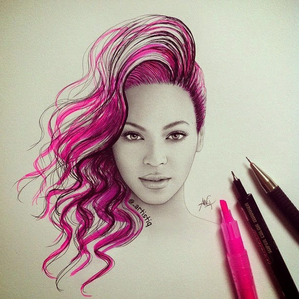 01-Beyoncé-Cas-_artistiq-Colored-Celebrity-and-Cartoon-Drawings-www-designstack-co