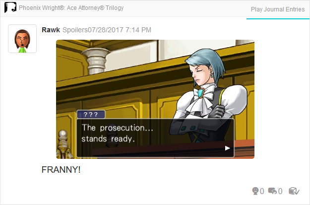 Phoenix Wright Ace Attorney Trials and Tribulations Franziska von Karma the prosecution stands ready