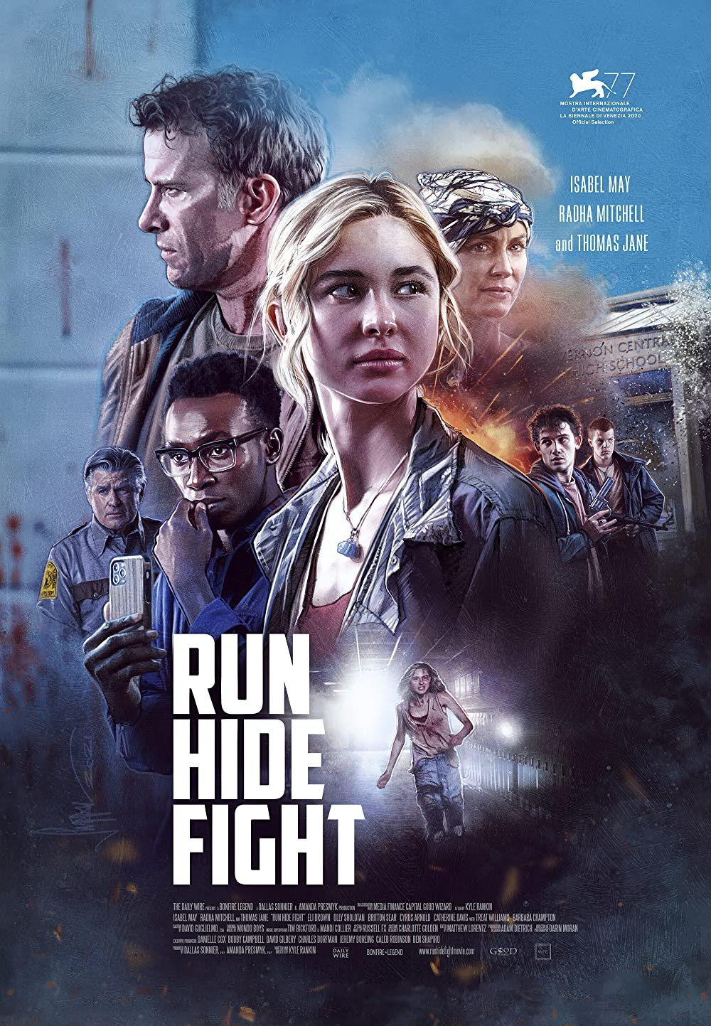 Film poster for Run Hide Fight featuring the cast