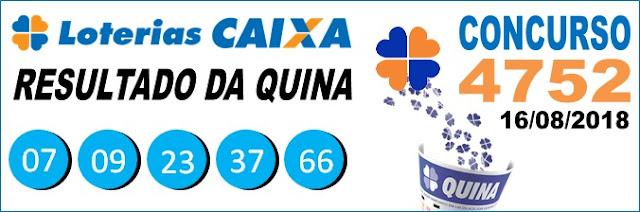 Resultado da Quina concurso 4752 de 16/08/2018 (Imagem: Informe Notícias)