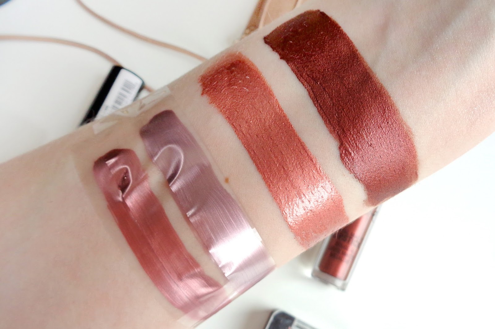 p2 Nail Polish 030 Bronze Cut swatch, p2 Nail Polisch 050 Frozen Rose swatch, NYX Cosmic Metals Speed Of Light swatch, Kylie Cosmetics Reign swatch