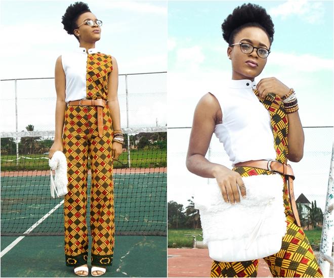 female patch work ankara shirt and palazzo pant/trouser, trendy ankara style