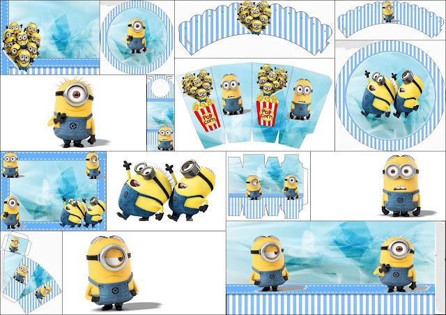 Minions en Fondo Azul: Mini Kit para imprimir Gratis.