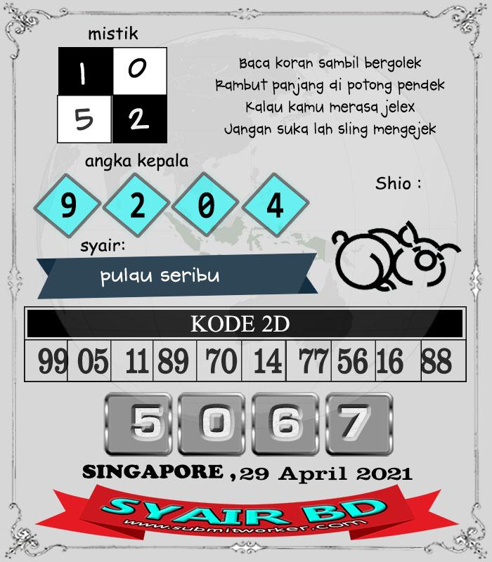 Syair BD Singapore Kamis 29 April 2021