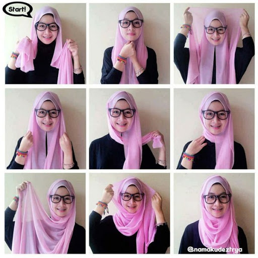 contoh tutorial hijab pashmina pesta terbaru 2017/2018