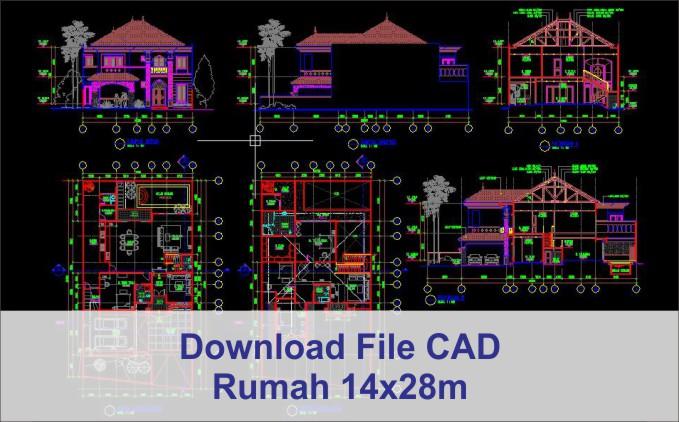 download rumah 14x28 File AutoCad