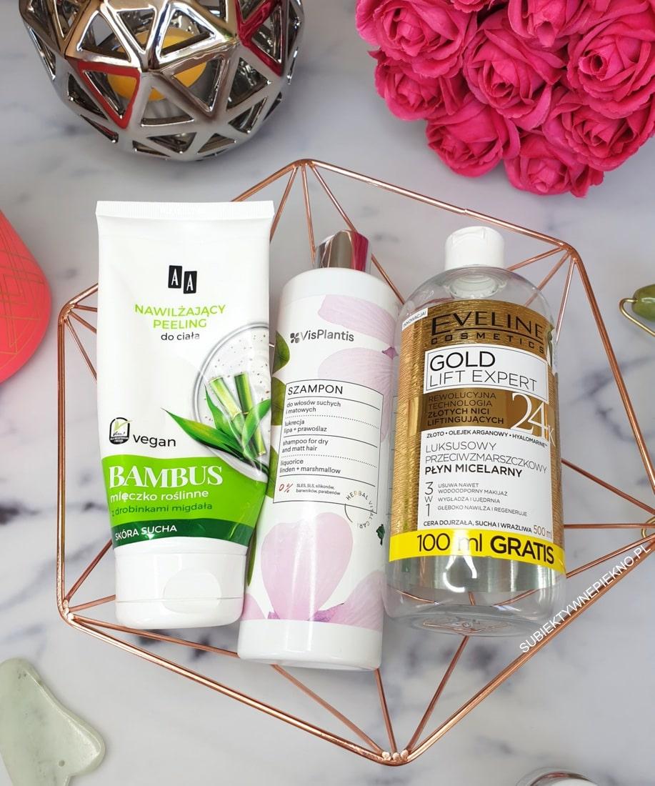 PROJEKT DENKO MAJ 2019 - peeling AA Vegan, szampon Vis Plantis, micel Eveline