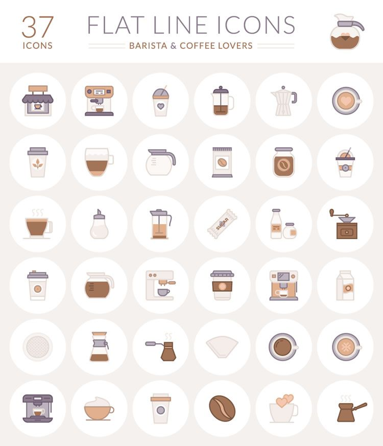 37 Free Barista And Coffee Lover Flat Line Icons