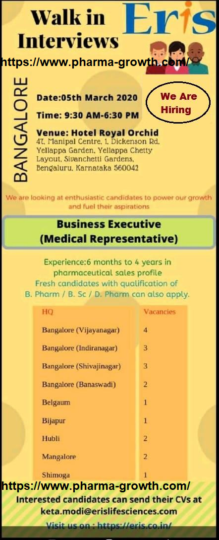 Eris Lab Ltd - Walk in interview for Medical Representative on 5th March 2020