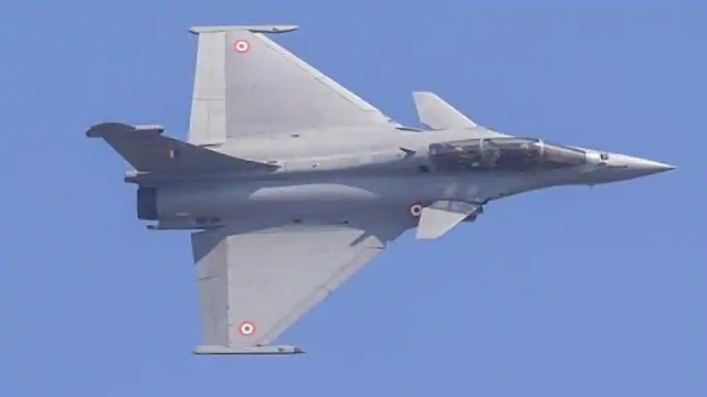 Indian Air Force's Rafale jet flies past.