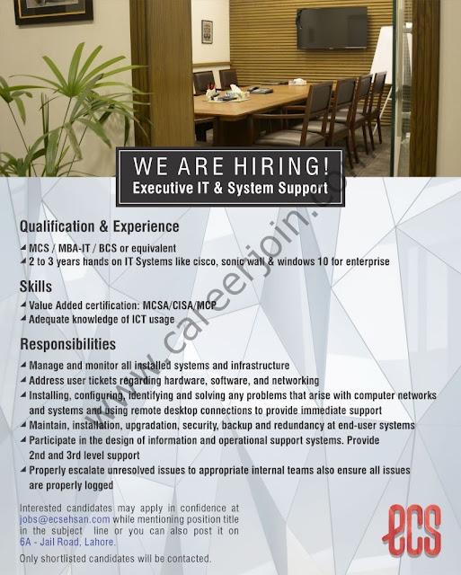 Ehsan Chappal Store ECS Jobs Executive IT & System Support