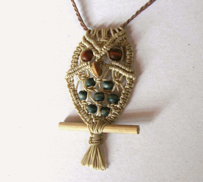 Ecocrafta Macrame Owl Necklace