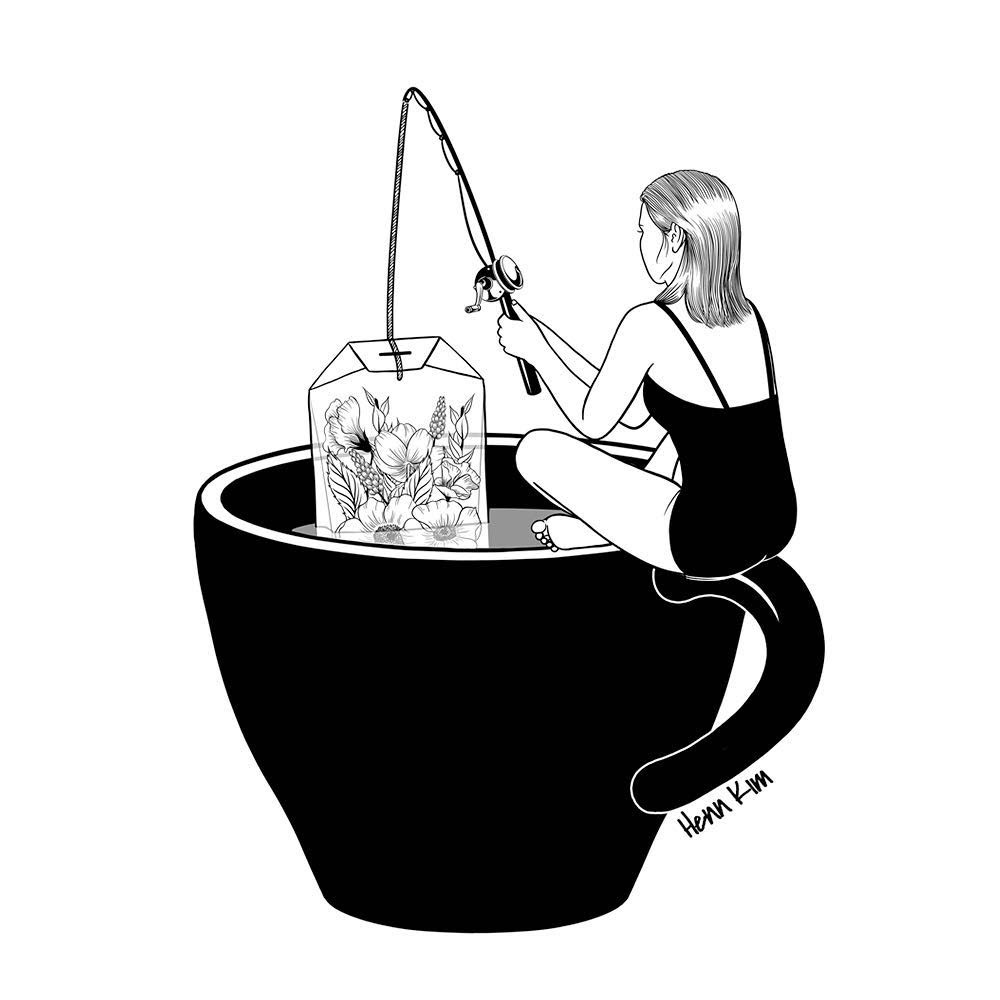 14-Laid-Back-Time-Henn-Kim-Surrealism-Black-and-White-Symbolic-Illustrations-www-designstack-co