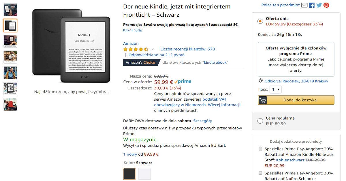 Kindle 10 przeceniony o 30 EUR dla uczestników programu Amazon Prime