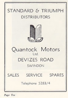 Quantock Motors Ltd advert from Glamorous Night Programme - 1965
