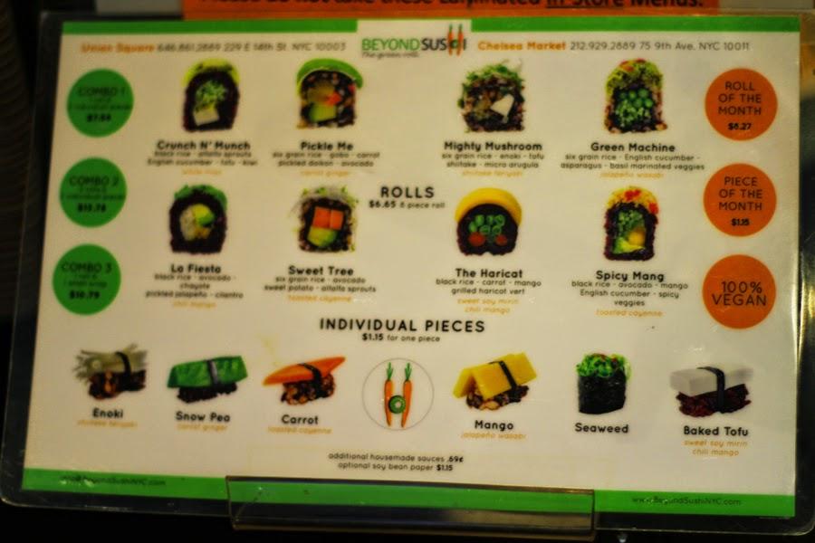 beyond sushi new york chelsea market menu