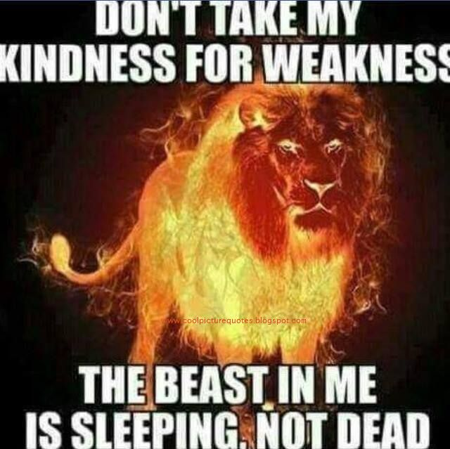 Dont Take My Kindness For Weakness The Beast In Me Is Sleeping Not