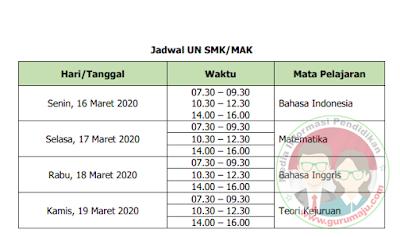 Jadwal UN UNBK SMK