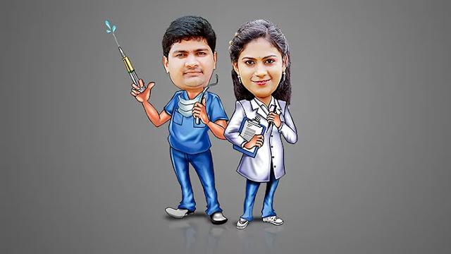 Digital Cartoon Couple Caricatures PSD Templates