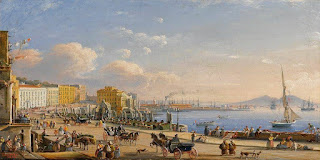 The Naples waterfront, as depicted in an 18th century view  towards Santa Lucia and Castel dell'Ovo