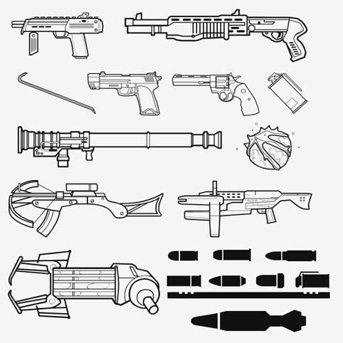 تحميل أشكال أسلحة وبنادق للفوتوشوب مجاناً , تحميل أشكال أسلحة وبنادق للفوتوشوب مجاناً ,Weapons and ammunition PS shapes download,Weapons and Guns Photoshop shapes free download