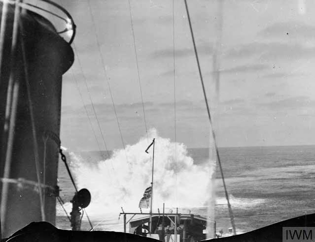 HMS Jervis using depth charges in an attack, 11 April 1942