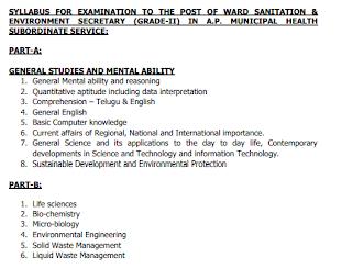 AP Ward Sachivalayam Sanitation & Environment Secretary, Education & Data Processing Secretary Govt jobs Recruitment 2019 Apply Online Exam Pattern and Syllabus