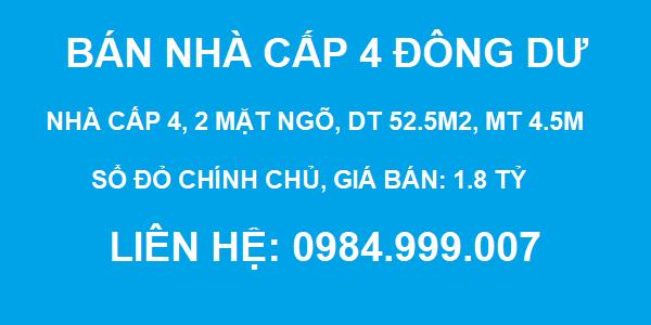 Bán nhà cấp 4 Đông Dư, huyện Gia Lâm, 2 mặt ngõ, ô tô đỗ cửa, DT 52.5m2, MT 4.5m