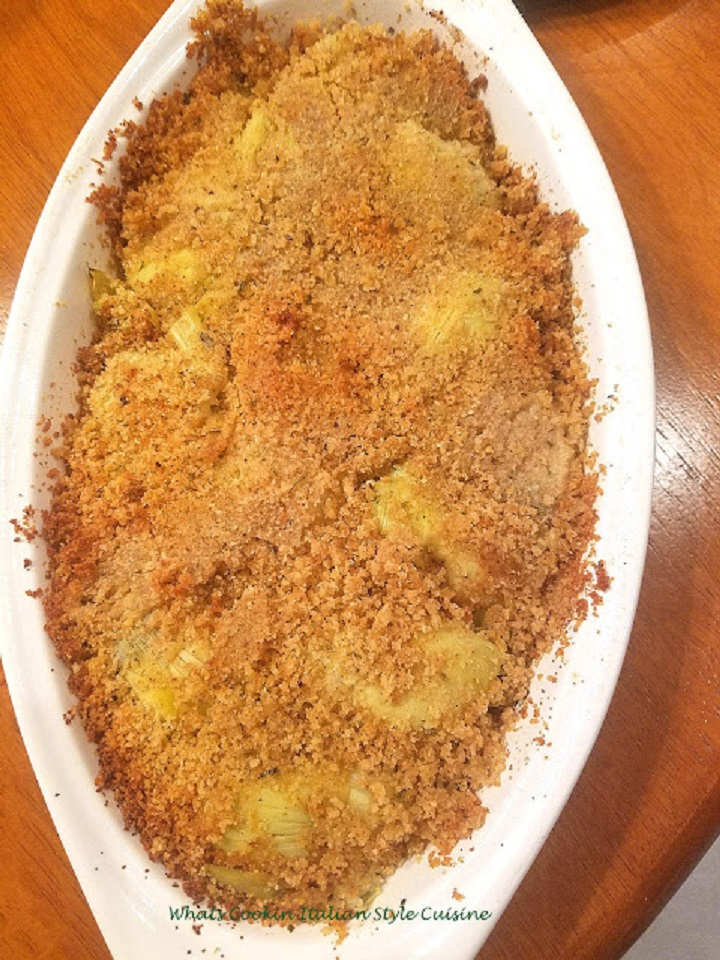 this is how to make baked artichokes with bread crumb topping that taste like stuffed artichoke hearts