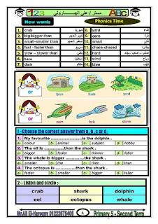 مذكرة اللغة الانجليزية للصف الخامس الابتدائى الترم الثانى للاستاذ علي الهاروني