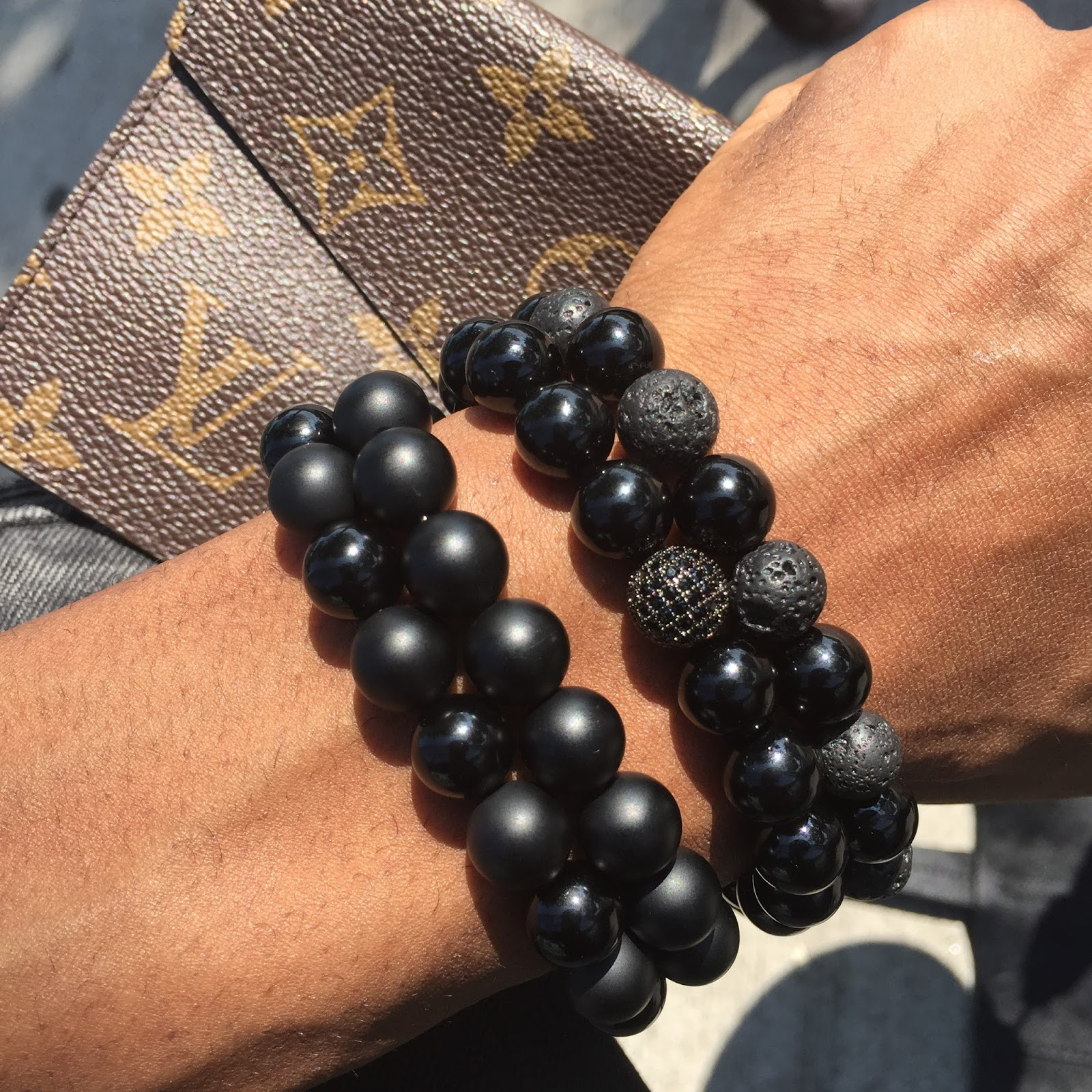 Stack Of Black Onyx And Lava 10mm Bracelets