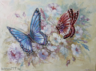 картина на холсте-Голубая и розовая бабочки