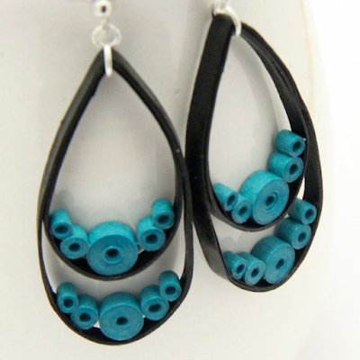 Black color Tear Drop Earrings for Kids - Quillingpaperdesigns