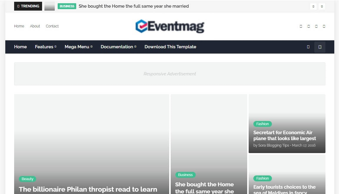 Eventmag Simple Blogger Template Free Download