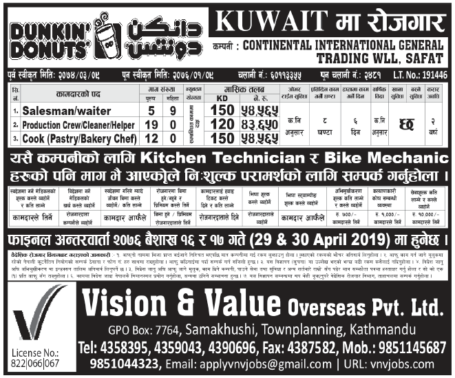 Jobs in Kuwait for Nepali, Salary Rs 54,565