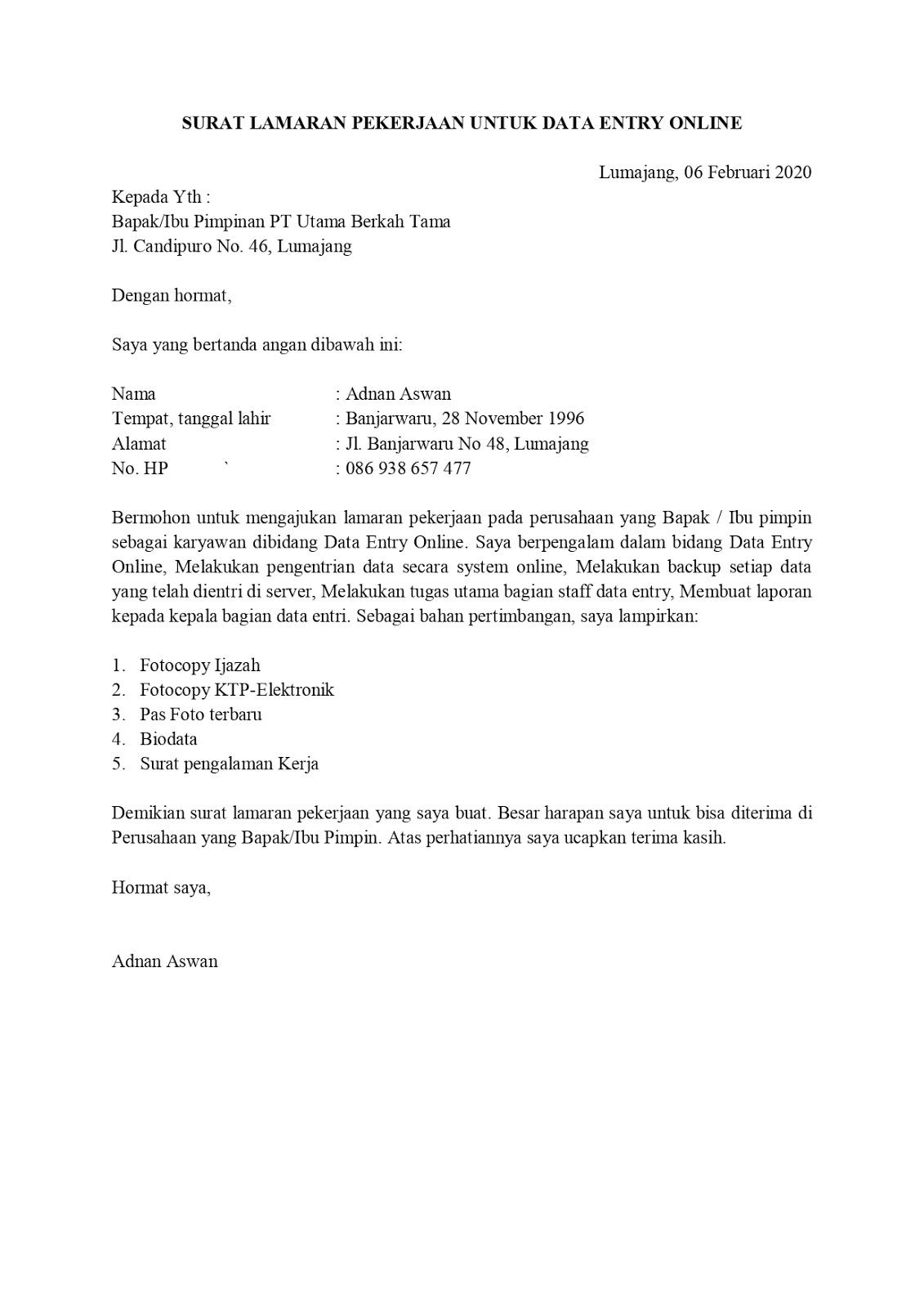 Contoh Surat Lamaran Pekerjaan Untuk Administrasi Dan Perkantoran Tanpakoma