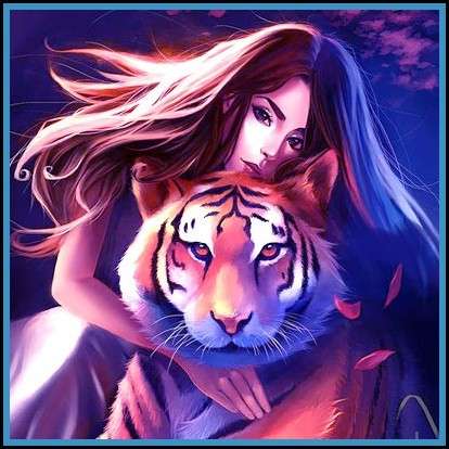 girl with tiger Stylish dp