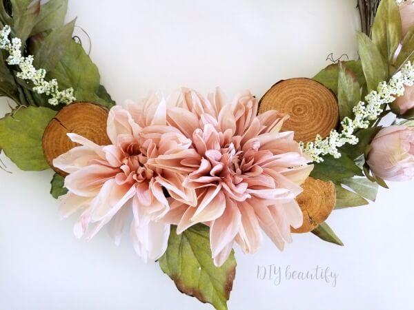 blush flowers on Spring wreath