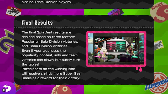 Splatfest 2 Splatfest final results three factors manual rules popularity solo division victories team