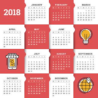 2018カレンダー無料テンプレート022