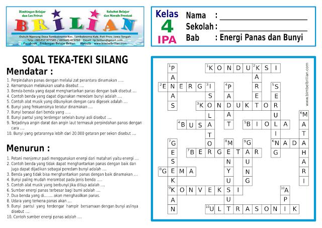 Soal Teka-Teki Silang ( TTS ) IPA Kelas 4 SD Bab 8 Energi Panas dan Bunyi dan Kunci Jawaban