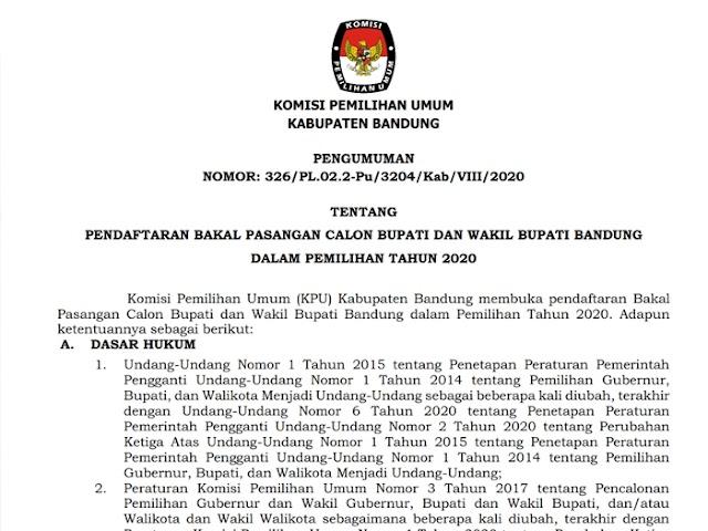 KPU Kabupaten Bandung Buka Pendaftaran Bakal Paslon Bupati dan Wakil Bupati 4 - 6 September 2020