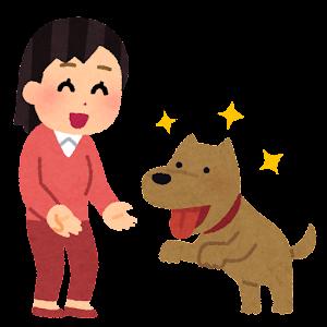 犬がなつく人のイラスト(女性)