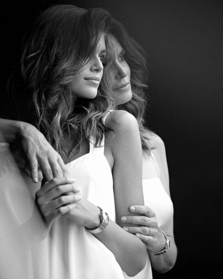 Kaia Gerber and Cindy Crawford pose in Malibu for OMEGA Watches