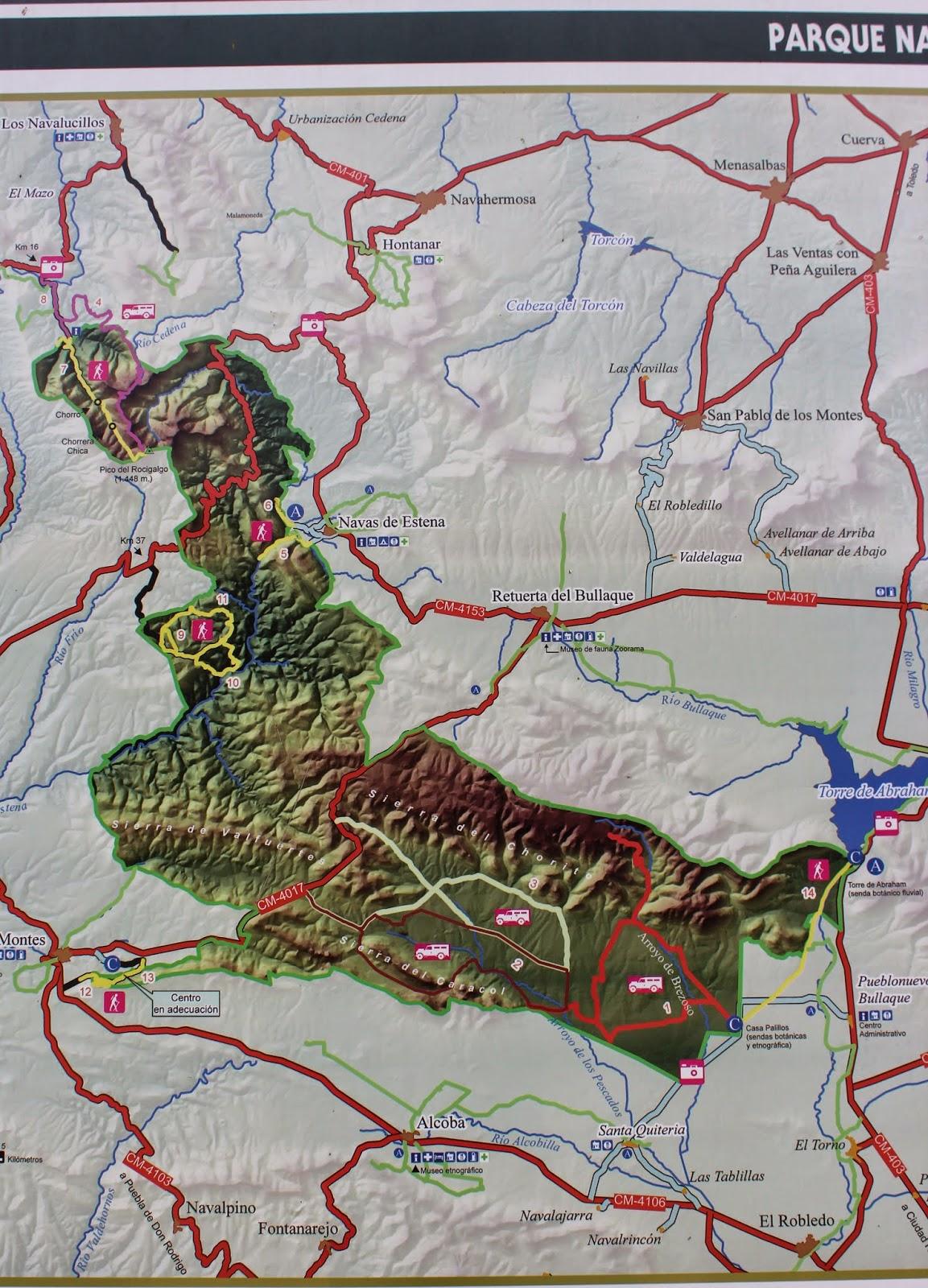 Mapa del Parque Nacional de Cabañeros