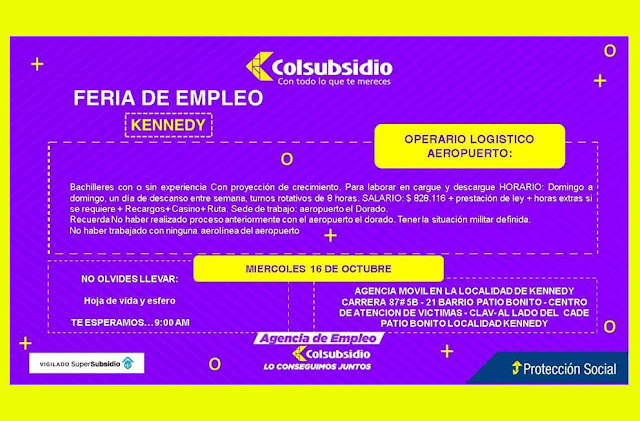 Feria de Empleo Operador Logistico Aeropuerto en Bogota