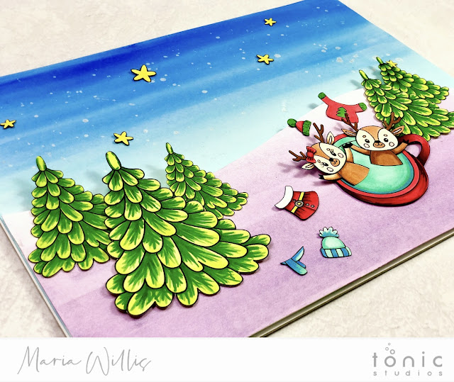 #tonicstudios, #tonicstudiosusa, #tonicstudiosgardenparty, #tonicwonderfulwishes, Cardbomb, Maria Willis, #christmas, #cards, #handmade, #handmadecards, #craft, #create, #watercolor, #nuvo, #art, #diy, #video, #videotutorial, reindeer,
