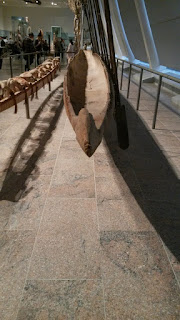 Asmat dugout canoe, from the stern