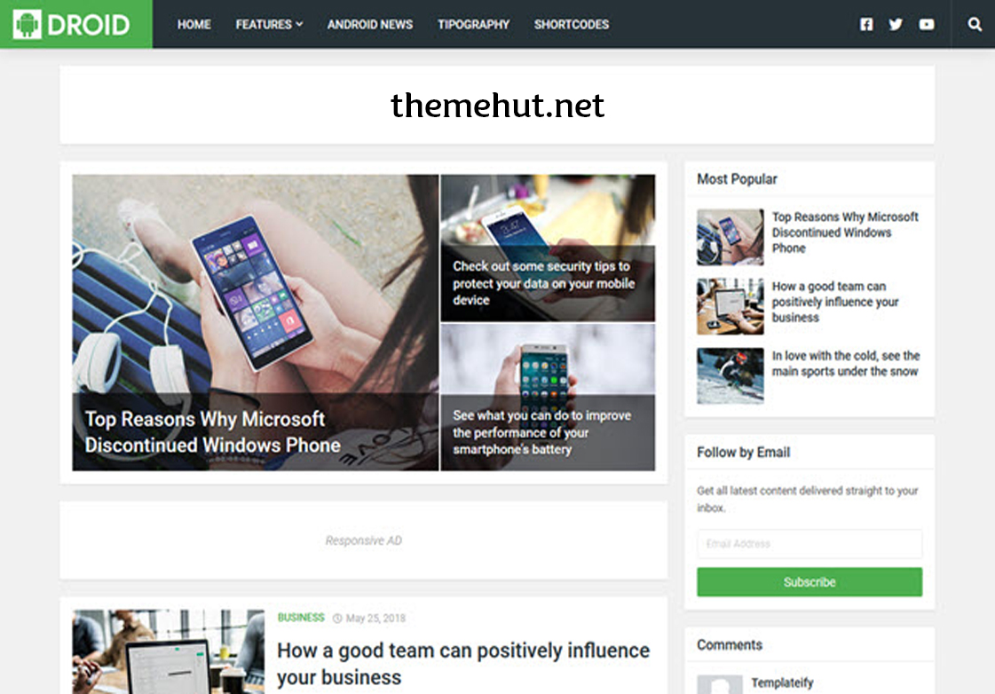 Droid - Responsive Blogger Template Free Download
