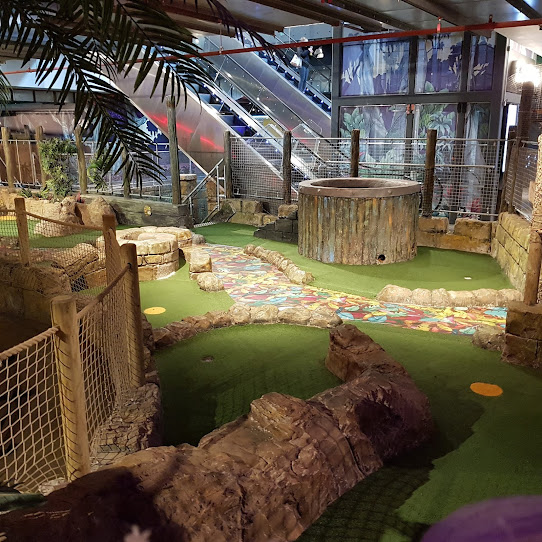 The Lost Valley Adventure Golf course in Bolton's Market Place shopping centre
